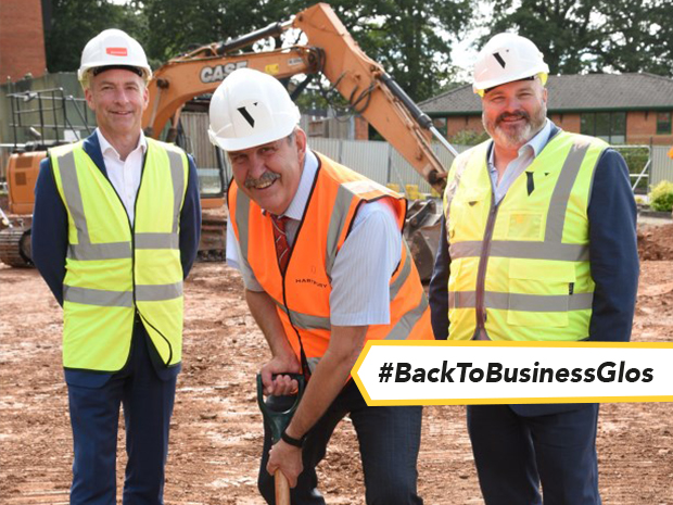 Ben Ramsay (left), of Barnwood, Russell Marchant (centre), of Hartpury University and Hartpury College, and Mark Price, of Vitruvius Management Services, mark the start of building work on the new £5 million catering hub.