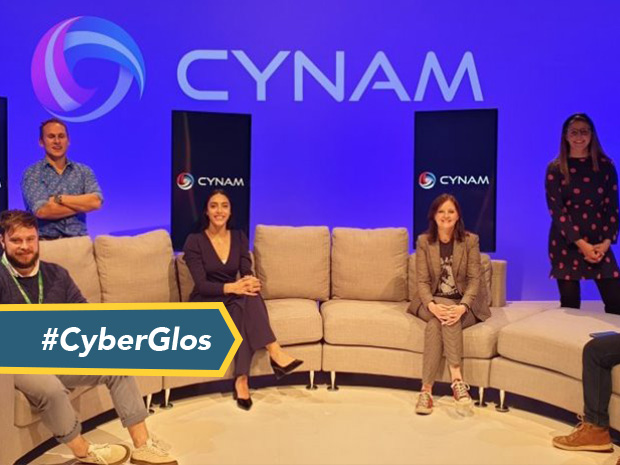 Looking back at CyNam 20.3: Ben Heathfield, of Bamboo Technology Group Ltd, Chris Dunning-Walton, managing director at InfoSec People Ltd, Lauren Bennett, student at Wyedean School and CyberFirst ambassador, Clare Bourne, Operations and Innovation Manager at CyNam and Madeline Howard, Global Information Security co-ordinator at Sage and a director of CyNam.