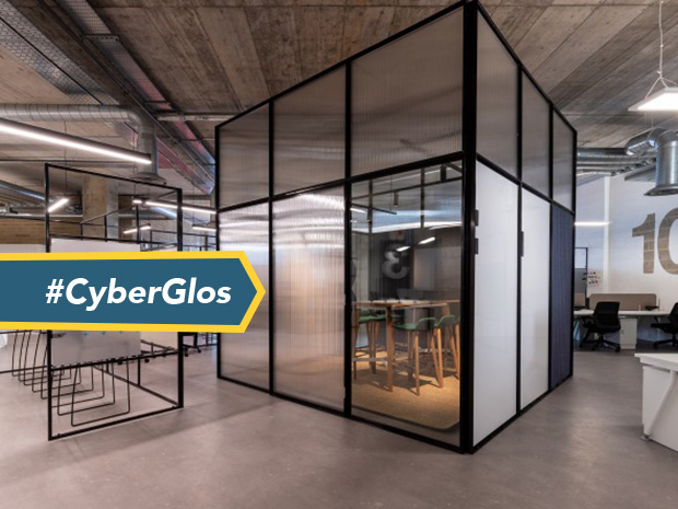Inside Cheltenham cyber-focused workspace Hub8 in the town's Brewery Quarter.