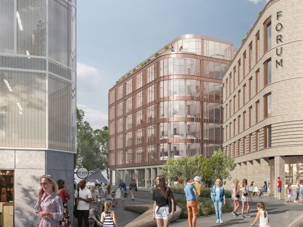 An artist's impression, looking back out of King's Square down Market Parade with the new buildings, part of phase two of The Forum Digital, on right and centre.