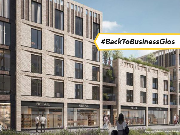 An artist's impression of the new buildings now given permission to be built along Market Parade in Gloucester as part of The Forum development.
