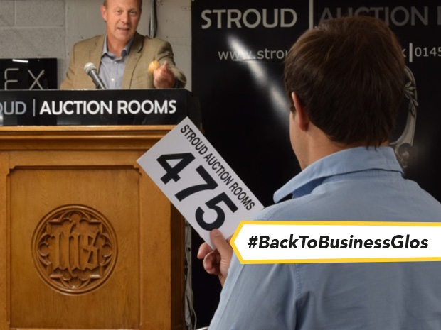 Nick Bowkett, where he likes to be – and hopes to return to very soon – in front of customers in Stroud Auction Room's sales room.